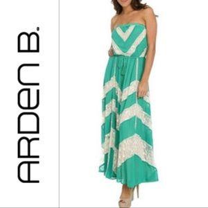 ARDEN B. Green Maxi Dress W/ Cream Lace